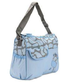 Diaper Bag Giraffe Design - Blue & Grey