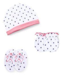 Ben Benny Cap Mitten Booties Set Printed - White Pink