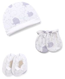 Ben Benny Cap Mitten Booties Set Elephant Print - White Grey