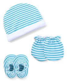 Ben Benny Cap Mitten Booties Set Striped - White Blue
