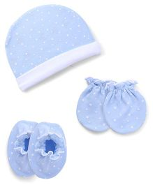 Ben Benny Cap Mitten Booties Set Dotted - Blue White