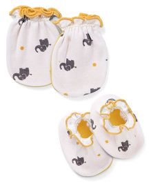 Ben Benny Mittens & Booties Pack of 4 - White Yellow