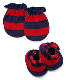 Ben Benny Stripe Mittens & Booties Pack of 4 - Navy Blue Red