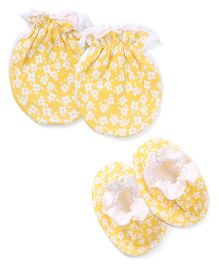 Ben Benny Mittens & Booties Floral Print Pack of 4 - Yellow
