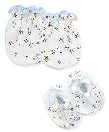 Ben Benny Mittens & Booties Star Print Pack of 4 - White