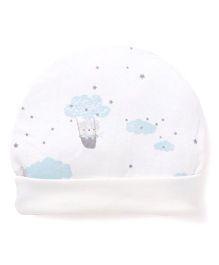 Ben Benny Round Cap Clouds Print - White Blue