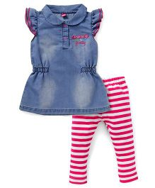 Wow Girl Frock With Leggings - Blue And Pink