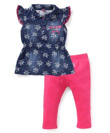 Wow Girl Flutter Sleeves Top And Leggings Set Leaves Print - Blue Pink
