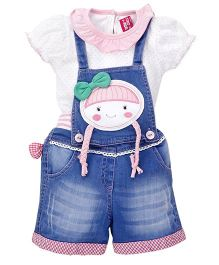 Wow Girl Dungaree With Inner Top Bow Applique - Blue & Pin