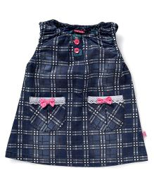 Wow Girl Denim Frock Checks Design - Blue