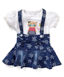 Wow Girl Frock With Inner - Navy And White