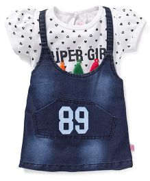 Wow Girl Frock With Top Heart Print - Blue And White