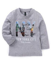 UCB Full Sleeves T-Shirt New York City Print - Grey