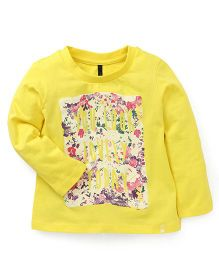 UCB Full Sleeves T-Shirt Floral Print - Yellow