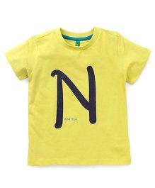 UCB Half Sleeves T-Shirt Alphabet N Print - Yellow