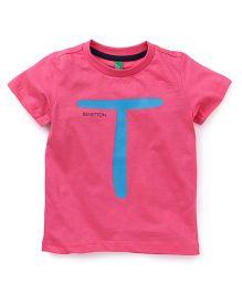 UCB Half Sleeves T-Shirt Alphabet T Print - Pink