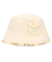 Babyhug Bucket Cap Animals Print - Yellow