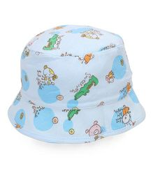 Babyhug Bucket Cap Animals Print - Blue