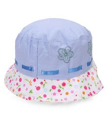 Babyhug Bucket Cap Flower Print - Blue