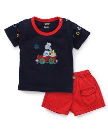 Wow Clothes T-Shirt And Shorts Set Animal Embroidery - Red And Navy Blue