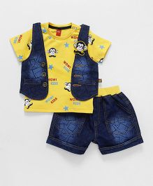 Wow Half Sleeves T-Shirt With Shorts & Jacket Monkey Print - Yellow & Blue
