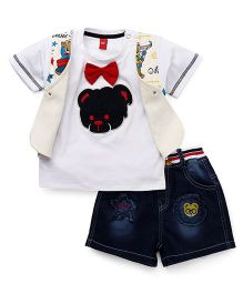 Wow Clothes Shorts And Half Sleeves T-Shirt With Teddy Print - White Blue