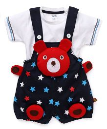 Wow Clothes Dungaree With T-Shirt Bear Design - Red Black