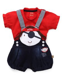 Wow Clothes T-Shirt & Dungaree - Red Navy Blue