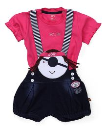 Wow Clothes T-Shirt & Dungaree - Pink Navy Blue