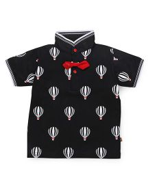 Wow Clothes Half Sleeves T-shirt Parachute Print - Black