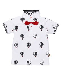 Wow Clothes Half Sleeves T-shirt Parachute Print - White