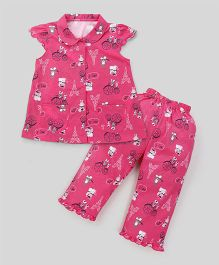 Teddy Cap Sleeves Night Suit Multi Print - Pink