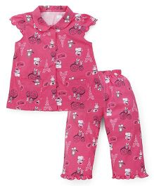 Teddy Cap Sleeves Night Suit Eiffel Tower Print - Pink