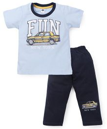 Teddy Half Sleeves T-Shirt And Leggings Set Fun New York Print - Sky Blue