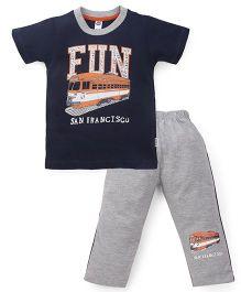 Teddy Half Sleeves T-Shirt And Leggings Set Fun San Francisco Print - Black Grey
