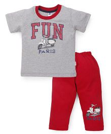 Teddy Half Sleeves T-Shirt And Leggings Set Fun Paris Print - Red Grey