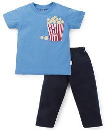 Teddy Half Sleeves T-Shirt And Leggings Set Popcorn Print - Sky Blue
