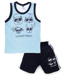 Teddy Sleeveless T-shirt And Shorts Animal Print - Sky Blue Navy