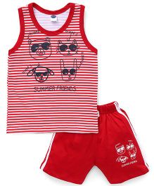 Teddy Sleeveless T-shirt And Shorts Animal Print - Red