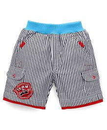 Cucumber Stripe Shorts Team Wide Patch - Navy Blue And Red