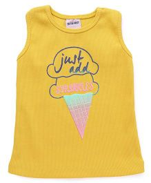 Button Noses Sleeveless Tee Ice-cream Print - Yellow