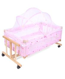 Multi Print Wooden Cradle With Mosquito Net - Pink