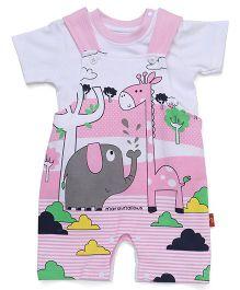 Marshmallows Dungaree Romper With Tee Elephant & Giraffe Print - Pink