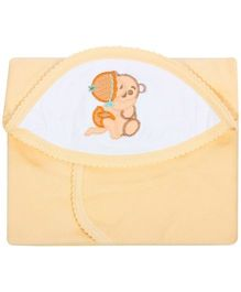 Tinycare Hooded Towel Super Baby Print - Light Orange