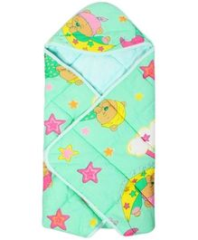 Tinycare Hooded Baby Wrapper - Light Green