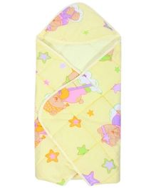 Tinycare Hooded Baby Wrapper - Light Yellow
