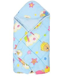 Tinycare Hooded Baby Wrapper - Light Blue