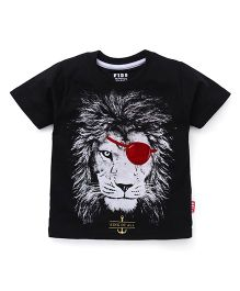 Fido Half Sleeves T-Shirt With Lion Print - Black