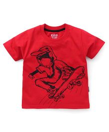 Fido Half Sleeves T-Shirt With Skating Print - Red