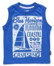 Fido Sleeveless T-Shirt Cruising Print - Blue